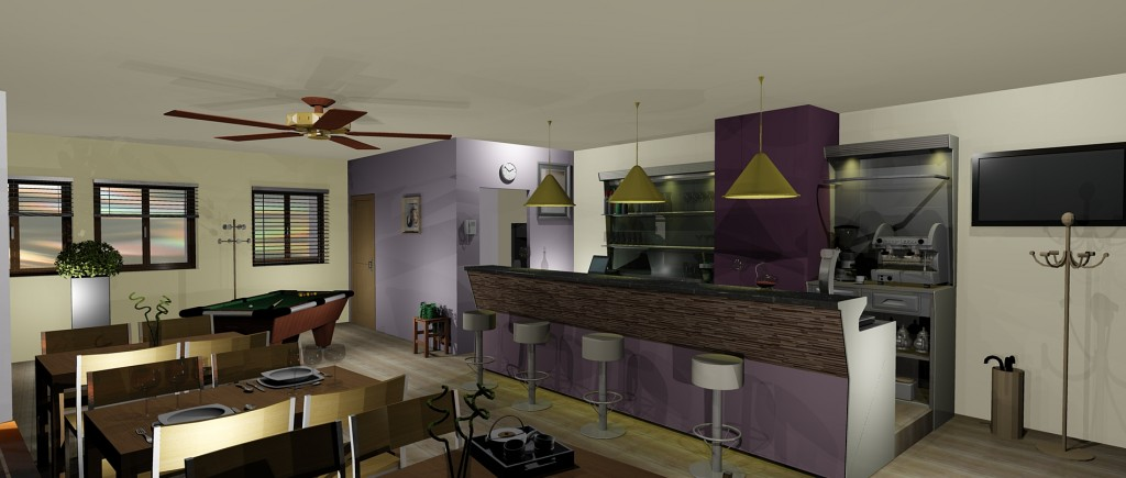 Conception 3D de cuisine professionnelle
